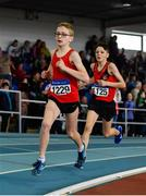 31 March 2019; Max Treacy of Kildare A.C., Co. Kildare, left, and Liam Fitzgerald of Lucan Harriers A.C., Co. Dublin, competing in the Boys Under 14 800m event during Day 2 of the Irish Life Health National Juvenile Indoor Championships at AIT in Athlone, Co Westmeath. Photo by Sam Barnes/Sportsfile