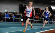 31 March 2019; Luca O'Shea Breen of Greystones & District A.C., Co. Wicklow, competing in the Boys Under 14 800m event during Day 2 of the Irish Life Health National Juvenile Indoor Championships at AIT in Athlone, Co Westmeath. Photo by Sam Barnes/Sportsfile