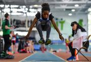 31 March 2019; Rosemary Alamu of Midleton A.C., Co. Cork, competing in the Girls Under 13 Long Jump event during Day 2 of the Irish Life Health National Juvenile Indoor Championships at AIT in Athlone, Co Westmeath. Photo by Sam Barnes/Sportsfile
