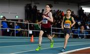 31 March 2019; Callum Costello of Mullingar Harriers A.C., Co. Westmeath, left, and Cormac Crotty of Annalee A.C., Co. Cavan, competing in the Boys Under 14 800m event during Day 2 of the Irish Life Health National Juvenile Indoor Championships at AIT in Athlone, Co Westmeath. Photo by Sam Barnes/Sportsfile