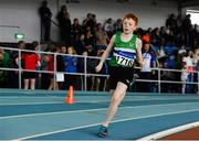31 March 2019; Tom Doherty of Monaghan Phoenix A.C., Co. Monaghan, competing in the Boys Under 14 800m event during Day 2 of the Irish Life Health National Juvenile Indoor Championships at AIT in Athlone, Co Westmeath. Photo by Sam Barnes/Sportsfile