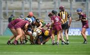 31 March 2019; Players from both teams contest the loose ball during the Littlewoods Ireland Camogie League Division 1 Final match between Kilkenny and Galway at Croke Park in Dublin. Photo by Piaras Ó Mídheach/Sportsfile