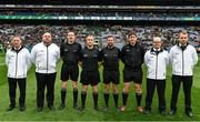 30 March 2019; Referee Brendan Cawley and his officials before the Allianz Football League Division 4 Final between Derry and Leitrim at Croke Park in Dublin. Photo by Ray McManus/Sportsfile