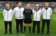 30 March 2019; Referee Brendan Cawley and his umpires before the Allianz Football League Division 4 Final between Derry and Leitrim at Croke Park in Dublin. Photo by Ray McManus/Sportsfile
