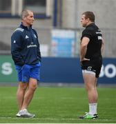 1 April 2019; Senior coach Stuart Lancaster, left, and Seán Cronin during Leinster squad training at Energia Park in Donnybrook, Dublin. Photo by David Fitzgerald/Sportsfile