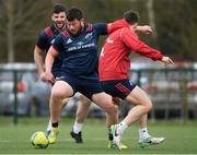 1 April 2019; Ciarán Parker with Sean O'Connor, left, and Darren Sweetnam, right, during Munster Rugby Squad Training at University of Limerick in Limerick. Photo by Piaras Ó Mídheach/Sportsfile