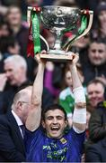 31 March 2019; Jason Doherty of Mayo lifts the cup after the Allianz Football League Division 1 Final match between Kerry and Mayo at Croke Park in Dublin. Photo by Ray McManus/Sportsfile