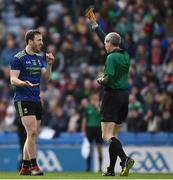 31 March 2019; Darren Coen of Mayo receives a 'Yellow Card' from referee Fergal Kelly during the Allianz Football League Division 1 Final match between Kerry and Mayo at Croke Park in Dublin. Photo by Ray McManus/Sportsfile