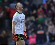 31 March 2019; Mayo goalkeeper Rob Hennelly reacts to the third Mayo goal during the Allianz Football League Division 1 Final match between Kerry and Mayo at Croke Park in Dublin. Photo by Ray McManus/Sportsfile