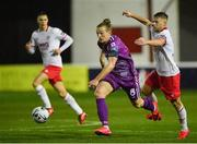 1 April 2019; John Mountney of Dundalk in action against Conor Clifford of St Patrick's Athletic during the EA Sports Cup Second Round match between St. Patrick's Athletic and Dundalk at Richmond Park in Dublin. Photo by Seb Daly/Sportsfile