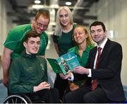 3 April 2019; Paralympics Ireland launched the new strategic plan for Irish Paralympic Sport at the Sport Ireland Federation; 'Success Take More'. Pictured are Minister of State for Tourism and Sport Brendan Griffin TD, right, with athletes, from left, swimmer Patrick Flanagan, para-canoeist Pat O'Leary, sprinter Orla Comerford and middle distance runner Greta Streimkyte during the launch at the Sport Ireland Institute in Abbotstown, Co Dublin. Photo by Matt Browne/Sportsfile