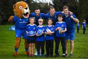 3 April 2019; The Bank of Ireland Leinster Rugby Summer Camps and new inclusion camps were launched by Leinster Rugby stars Josh Van Der Flier, Rhys Ruddock, Robbie Henshaw and mascot Leo the Lion along with school kids, from left, Kate Gunne, age 9, Vincent Hoolahan, age 10, Molly Kearney, age 8 and Andrew Quinlan, age 9, at a pop up training session in St. Mary's National School, Ranelagh. The camps will run in 27 different venues across the province throughout July and August. Visit www.leinsterrugby.ie/camps for more information. Photo by David Fitzgerald/Sportsfile