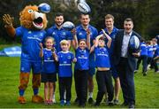 3 April 2019; The Bank of Ireland Leinster Rugby Summer Camps and new inclusion camps were launched by Leinster Rugby stars Josh Van Der Flier, Rhys Ruddock, Robbie Henshaw and mascot Leo the Lion along with Rory Carty, Head of Youth Banking, Bank of Ireland, right, and school kids, from left, Kate Gunne, age 9, Vincent Hoolahan, age 10, Molly Kearney, age 8 and Andrew Quinlan, age 9, at a pop up training session in St. Mary's National School, Ranelagh. The camps will run in 27 different venues across the province throughout July and August. Visit www.leinsterrugby.ie/camps for more information. Photo by David Fitzgerald/Sportsfile