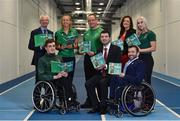 3 April 2019; Paralympics Ireland launched the new strategic plan for Irish Paralympic Sport at the Sport Ireland Federation; 'Success Take More'. Pictured are Minister of State for Tourism and Sport Brendan Griffin TD, with, from left, Chief Executive of Sport Ireland John Treacy, swimmer Patrick Flanagan, middle-distance runner Greta Streimkyte, para-canoeist Pat O'Leary, CEO of Paralympics Ireland Miriam Malone, sprinter Orla Comerford and President of Paralympics Ireland John Fulham during the launch at the Sport Ireland Institute in Abbotstown, Co Dublin. Photo by Matt Browne/Sportsfile