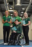 3 April 2019; Paralympics Ireland launched the new strategic plan for Irish Paralympic Sport at the Sport Ireland Federation; 'Success Take More'. Pictured are swimmer Patrick Flanagan, centre, with, from left, middle-distance runner Greta Streimkyte, para-canoeist Pat O'Leary and sprinter Orla Comerford during the launch at the Sport Ireland Institute in Abbotstown, Co Dublin. Photo by Matt Browne/Sportsfile