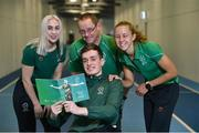 3 April 2019; Paralympics Ireland launched the new strategic plan for Irish Paralympic Sport at the Sport Ireland Federation; 'Success Take More'. Pictured are swimmer Patrick Flanagan, centre, with, from left, sprinter Orla Comerford, para-canoeist Pat O'Leary and middle-distance runner Greta Streimkyte during the launch the Sport Ireland Institute in Abbotstown, Co Dublin. Photo by Matt Browne/Sportsfile