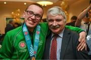 3 April 2019; Team Ireland's Oisin Gilmartin, a member of the Palmerstown Wildcats Special Olympics Club, from Dublin 20, Co. Dublin, with Willie O'Dea T.D, in Leinster House to celebrate their success of Team Ireland at the recent World Summer Games Abu Dhabi. Photo by Ray McManus/Sportsfile