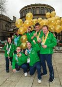 3 April 2019; Team Ireland's Aine McDermott, a member of the No Limits Club, from Athenry, Co. Galway, Kellie O'Donnell, a member of the Waterford SO Club, from Carrick-on-Suir, Co. Tipperary, Jack McFadden, a member of the Phoenix Flyers SO Club, from Dublin 15, Co. Dublin, Patrick Furlong, a member of the Lakers, from Dublin 10, Co. Dublin, John Doyle, a member of the Special Olympics Club Gorey Area, from Gorey, Co. Wexford, and, front row, Fergal Gregory, a member of the Newry City SOC from Newry, Co. Down, and Francis Power, a member of the Navan Arch Club, from Navan, Co. Meath, after they had visited Leinster House to celebrate their success at the recent World Summer Games Abu Dhabi. Photo by Ray McManus/Sportsfile