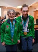 3 April 2019; Team Ireland's Mairead Moroney, a member of the Ennis SOGC, from Ennis, Co. Clare, with Jack McFadden, a member of the Phoenix Flyers SO Club,from Dublin 15, Co. Dublin, as Team Ireland athletes visited Leinster House to celebrate their success at the recent World Summer Games Abu Dhabi. Photo by Ray McManus/Sportsfile