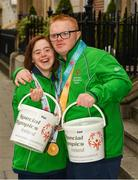 4 April 2019; Special Olympics Ireland is calling on people across the country to support future champions by donating to its Annual Collection Day Friday, 5th April. This is set to be one of the biggest and best Collection Days for the charity; off the back of Team Ireland's incredible success at the Special Olympics World Games in Abu Dhabi, Special Olympics Ireland smashed its initial target of 3,000 volunteers; with over 4,000 people signing up to take to the streets. Supermarkets, shops and streets will be full of Special Olympics volunteers and representatives, singing, shaking and smiling from 7am, in what will be one of the largest organised nationwide fundraising events of 2019. One can donate online at www.specialolympics.ie/donate or Text Athlete to 50300 to donate €4 to Special Olympics Ireland. Pictured are Team Ireland's Aine McDermott, a member of the No Limits Club, from Athenry, Co. Galway, and Fergal Gregory, Newry City SOC, from Newry, Co. Down. Photo by Ray McManus/Sportsfile