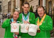4 April 2019; Special Olympics Ireland is calling on people across the country to support future champions by donating to its Annual Collection Day Friday, 5th April. This is set to be one of the biggest and best Collection Days for the charity; off the back of Team Ireland's incredible success at the Special Olympics World Games in Abu Dhabi, Special Olympics Ireland smashed its initial target of 3,000 volunteers; with over 4,000 people signing up to take to the streets. Supermarkets, shops and streets will be full of Special Olympics volunteers and representatives, singing, shaking and smiling from 7am, in what will be one of the largest organised nationwide fundraising events of 2019. One can donate online at www.specialolympics.ie/donate or Text Athlete to 50300 to donate €4 to Special Olympics Ireland. Pictured are Team Ireland's Francis Power, Jack McFadden and John Doyle. Photo by Ray McManus/Sportsfile
