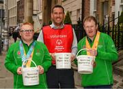 4 April 2019; Special Olympics Ireland is calling on people across the country to support future champions by donating to its Annual Collection Day Friday, 5th April. This is set to be one of the biggest and best Collection Days for the charity; off the back of Team Ireland's incredible success at the Special Olympics World Games in Abu Dhabi, Special Olympics Ireland smashed its initial target of 3,000 volunteers; with over 4,000 people signing up to take to the streets. Supermarkets, shops and streets will be full of Special Olympics volunteers and representatives, singing, shaking and smiling from 7am, in what will be one of the largest organised nationwide fundraising events of 2019. One can donate online at www.specialolympics.ie/donate or Text Athlete to 50300 to donate €4 to Special Olympics Ireland. Pictured are Team Ireland's Patrick Furlong and Kellie O'Donnell with volunteer Brian O'Callaghan. Photo by Ray McManus/Sportsfile