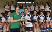 30 March 2019; Edenderry captain Laura Carthy is presented with the cup by Eve Higgins of Ireland and Leinster after the Leinster Rugby Girls U18s Girls Shield Final match between Edenderry and North Meath at Navan RFC in Navan, Co Meath. Photo by Matt Browne/Sportsfile