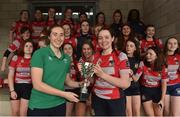 30 March 2019; Mullingar captain Caoimhe Ryan is presented with the cup by Eve Higgins of Ireland and Leinster after the Leinster Rugby Girls U16 Girls Bowl Final match between Mullingar and Westmanstown at Navan RFC in Navan, Co Meath. Photo by Matt Browne/Sportsfile