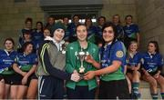 30 March 2019; Argo team captains  Sarah Robinson and Emily Slater are presented with the cup by Eve Higgins of Ireland and Leinster after the Leinster Rugby Girls 18s Girls Conference Final match between ARGO and Navan at Navan RFC in Navan, Co Meath. Photo by Matt Browne/Sportsfile