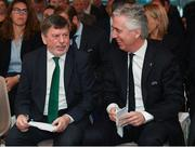 4 April 2019; Chairman of the UEFA Youth and Amateur Football Committee John Delaney, right, and FAI President Donal Conway during the 2019 UEFA European Under-17 Championship Finals Draw at the Aviva Stadium in Dublin. Photo by Stephen McCarthy/Sportsfile
