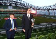 4 April 2019; Tournament ambassador John O'Shea, right, and Republic of Ireland U17 captain Seamus Keogh following the 2019 UEFA European Under-17 Championship Finals Draw at the Aviva Stadium in Dublin. Photo by Stephen McCarthy/Sportsfile