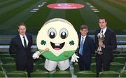 4 April 2019; Republic of Ireland manager Colin O'Brien, left, Republic of Ireland U17 captain Seamus Keogh and Tournament ambassador John O'Shea, right, with mascot Barry the Bodhran following the 2019 UEFA European Under-17 Championship Finals Draw at the Aviva Stadium in Dublin. Photo by Stephen McCarthy/Sportsfile