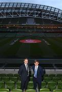 4 April 2019; Republic of Ireland manager Colin O'Brien, left, and Republic of Ireland U17 captain Seamus Keogh following the 2019 UEFA European Under-17 Championship Finals Draw at the Aviva Stadium in Dublin. Photo by Stephen McCarthy/Sportsfile