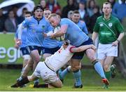 4 April 2019; Conall Doherty of UCD is tackled by James Hickey of Trinity during the Annual Men's Colours match between UCD and Trinity at the UCD Bowl in Belfield, Dublin. Photo by Matt Browne/Sportsfile
