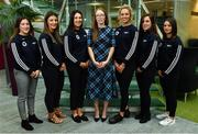 5 April 2019; The Women's Gaelic Players Association, WGPA, presented its 2019 third-level scholarships on Friday 5th April at PWC headquarters in Dublin. A total of 46 scholarships have been awarded to third-level students across multiple colleges who play intercounty Camogie and Ladies Football. The scholarship scheme recognises the efforts of WGPA members in pursuing a dual career, enabling them to focus their attention on taking opportunities for ongoing personal and professional development whilst striving for excellence as athletes. Pictured are third level scholarship students, from left, Andrea O'Keeffe of Clare, Linda Collins of Cork, Rebecca Finan of Roscommon, Orla O'Dwyer of Tipperary, Grace O'Brien of Tipperary and Aoife Donohue of Galway, with Maria Kinsella, WGPA Chairperson. Photo by Sam Barnes/Sportsfile