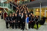 5 April 2019; The Women's Gaelic Players Association, WGPA, presented its 2019 third-level scholarships on Friday 5th April at PWC headquarters in Dublin. A total of 46 scholarships have been awarded to third-level students across multiple colleges who play intercounty Camogie and Ladies Football. The scholarship scheme recognises the efforts of WGPA members in pursuing a dual career, enabling them to focus their attention on taking opportunities for ongoing personal and professional development whilst striving for excellence as athletes. Pictured are third level scholarship students with Niamh Murphy, Director of Corporate Communications ICON, Paul Flynn, GPA CEO, Feargal O'Rourke, Managing Partner, PwC and Marie Coady, PwC Partner. Photo by Sam Barnes/Sportsfile