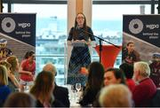 5 April 2019; The Women's Gaelic Players Association, WGPA, presented its 2019 third-level scholarships on Friday 5th April at PWC headquarters in Dublin. A total of 46 scholarships have been awarded to third-level students across multiple colleges who play intercounty Camogie and Ladies Football. The scholarship scheme recognises the efforts of WGPA members in pursuing a dual career, enabling them to focus their attention on taking opportunities for ongoing personal and professional development whilst striving for excellence as athletes. Pictured is Maria Kinsella, WGPA Chair, speaking during the event . Photo by Sam Barnes/Sportsfile