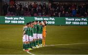5 April 2019; Cork City players during a minute's appreciation in tribute to the late broadcaster Pat McAuliffe prior to the SSE Airtricity League Premier Division match between Cork City and Shamrock Rovers at Turners Cross in Cork. Photo by Stephen McCarthy/Sportsfile
