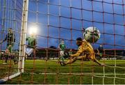 5 April 2019; Cork City goalkeeper Mark McNulty is beaten by a shot from Sean Kavanagh of Shamrock Rovers for their opeing goal during the SSE Airtricity League Premier Division match between Cork City and Shamrock Rovers at Turners Cross in Cork. Photo by Stephen McCarthy/Sportsfile