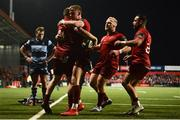5 April 2019; Andrew Conway of Munster, left, celebrates with team-mates Mike Haley, Jeremy Loughman and Alby Mathewson after scoring his side's fifth try during the Guinness PRO14 Round 19 match between Munster and Cardiff Blues at Irish Independent Park in Cork. Photo by Diarmuid Greene/Sportsfile