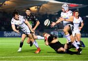 5 April 2019; Jacob Stockdale of Ulster, left, is tackled by Kyle Steyn of Glasgow Warriors during the Guinness PRO14 Round 19 match between Glasgow Warriors and Ulster at Scotstoun Stadium in Glasgow, Scotland. Photo by Ross Parker/Sportsfile