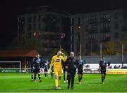 5 April 2019; Gary Rogers of Dundalk and Dundalk first team coach John Gill leave the field following their side's defeat during the SSE Airtricity League Premier Division match between St Patrick's Athletic and Dundalk at Richmond Park in Dublin. Photo by Seb Daly/Sportsfile