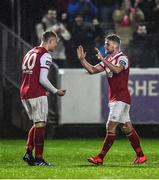 5 April 2019; Jamie Lennon, left, and Conor Clifford of St Patrick's Athletic celebrate following their side's victory during the SSE Airtricity League Premier Division match between St Patrick's Athletic and Dundalk at Richmond Park in Dublin. Photo by Seb Daly/Sportsfile
