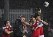 5 April 2019; Seán Hoare of Dundalk, right, in action against Gary Shaw and Kevin Toner of St Patrick's Athletic during the SSE Airtricity League Premier Division match between St Patrick's Athletic and Dundalk at Richmond Park in Dublin. Photo by Seb Daly/Sportsfile