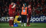 5 April 2019; Munster water carrier Joey Carbery with team-mate Peter O'Mahony and CJ Stander during the Guinness PRO14 Round 19 match between Munster and Cardiff Blues at Irish Independent Park in Cork. Photo by Diarmuid Greene/Sportsfile