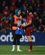 5 April 2019; Munster water carrier Joey Carbery with team-mate Tyler Bleyendaal during the Guinness PRO14 Round 19 match between Munster and Cardiff Blues at Irish Independent Park in Cork. Photo by Diarmuid Greene/Sportsfile
