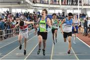 6 April 2019; Callum Oliphant of MSB Dublin celebrates winning the under-17 boys 4x200m relay event from second place Shaun Gilligan of Galway City Harriers AC and third place Nurlan Kennedy of St Laurance O'Toole AC Carlow during Day 3 of the Irish Life Health National Juvenile Indoor Championships at AIT in Athlone, Co Westmeath. Photo by Matt Browne/Sportsfile