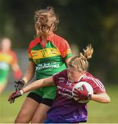 6 April 2019; Hannah Walsh of Coláiste Bhaile Chláir, Claregalway, in action against Aoife Mallon of St Catherine's, Armagh, during the Lidl All Ireland Post Primary School Junior A Final match between Coláiste Bhaile Chláir, Claregalway, Galway, and St Catherine's, Armagh, at Philly McGuinness Memorial Park in Mohill in Co Leitrim. Photo by Stephen McCarthy/Sportsfile