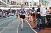 6 April 2019; Zoe Garrigan of St Laurence O'Toole's, Carlow, leads her team home to win the girls under-17 4x200m relay during Day 3 of the Irish Life Health National Juvenile Indoor Championships at AIT in Athlone, Co Westmeath. Photo by Matt Browne/Sportsfile