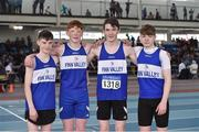 6 April 2019; The Finn Valley team, from Donegal, who won the boys under-15 4x200m relay, from left, Conor Murphy, Bobby Hennigan, Daniel McHugh and Blaine Lynch during Day 3 of the Irish Life Health National Juvenile Indoor Championships at AIT in Athlone, Co Westmeath. Photo by Matt Browne/Sportsfile